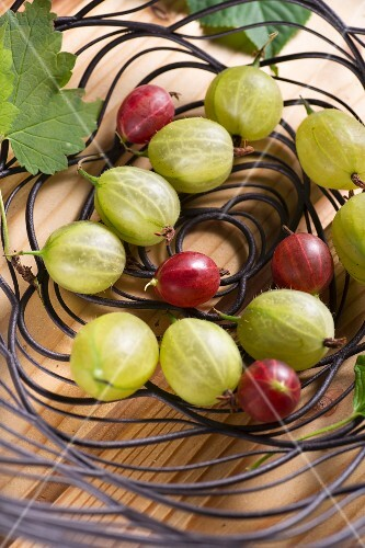 Red and green gooseberries in a wire bowl