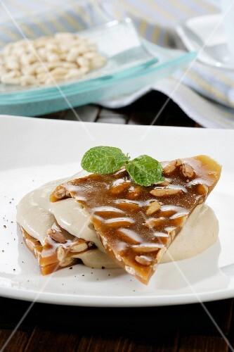 Nougat with vanilla sauce