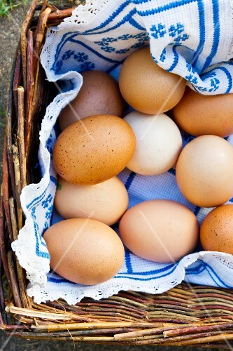 Brown hen's eggs in a basket (view from above)