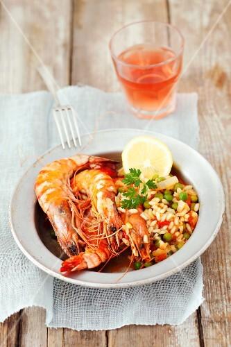 Prawns with tomato rice