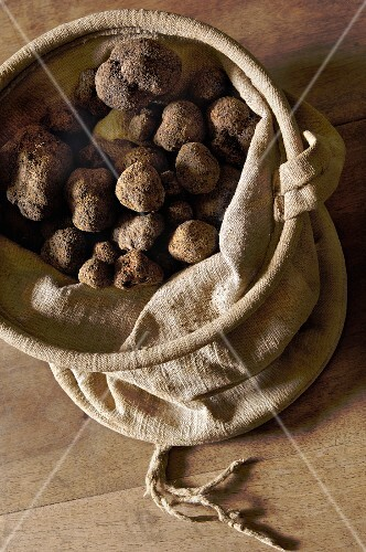 Lots of truffles in a linen sack