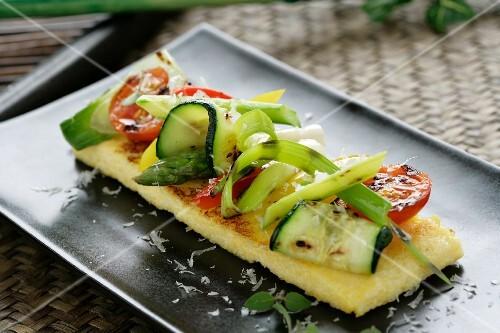 Polenta with grilled vegetables and parmesan