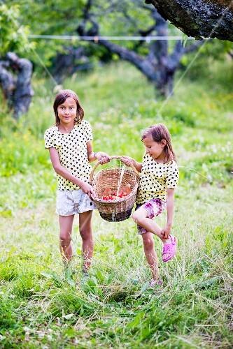Two girls in garden