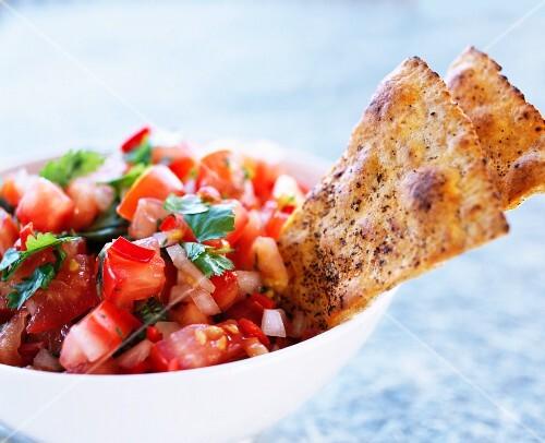 Tomatoe dip, close-up.