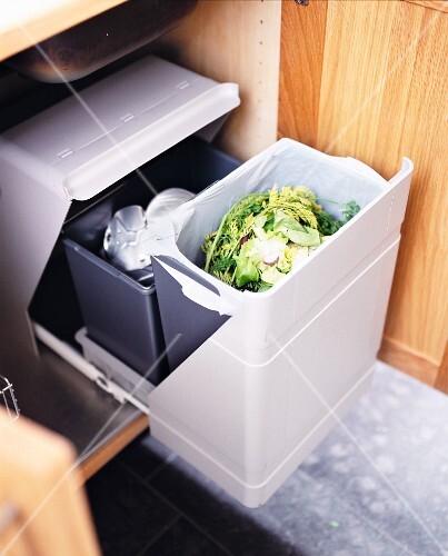Garbage in a kitchen.