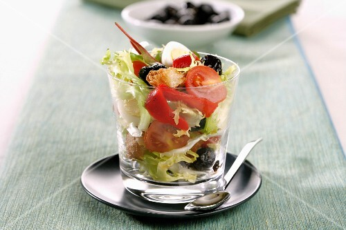 Mediterranean salad with olives and croutons