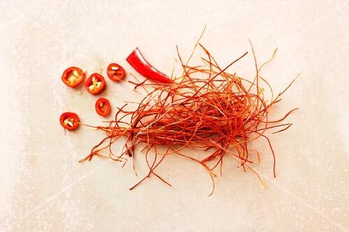 Chilli strands and sliced chilli