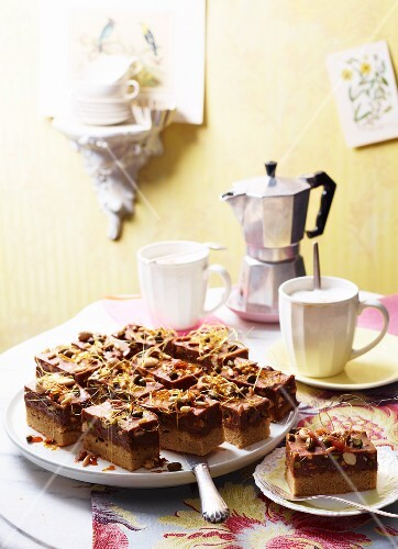 Nougat & espresso slices with coffee