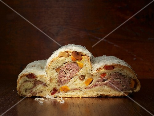 Savoury Stollen (traditional German Christmas cake) with bacon and squash