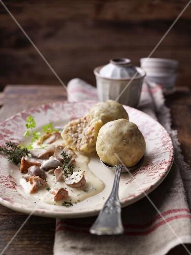 Buckwheat and bacon dumplings with mushroom sauce and thyme