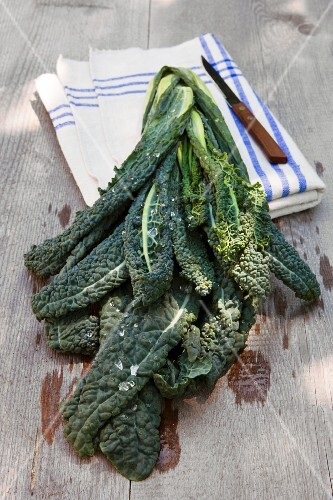 Washed cavolo nero (organic) with a linen cloth and a knife on a wooden table outdoors