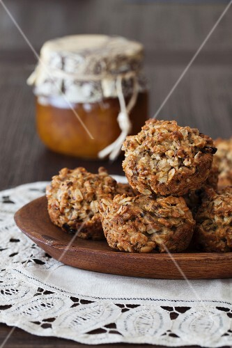 Small oat breakfast cakes with seeds, cashew Nuts & dried berries