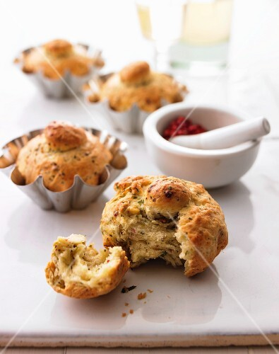 Herb brioches with red peppercorns