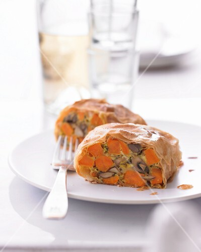Mushroom strudel with sweet potatoes and herby sour cream