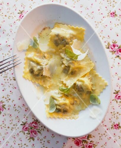 Ravioli with Parmesan and basil