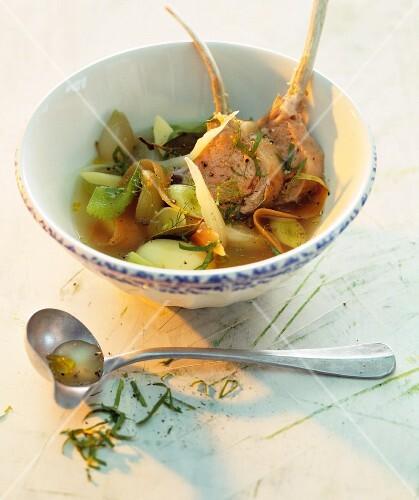 Lamb chops in vegetable stock