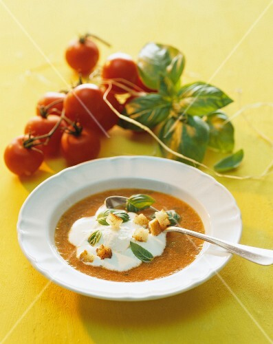 Tomato soup with sour cream, basil and croutons