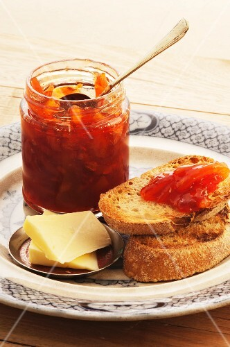 Blood orange & Campari marmalade with bread and butter
