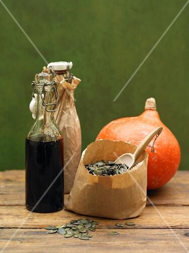 An arrangement of pumpkin produce
