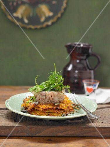 Pumpkin and potato fritters with trout tartar