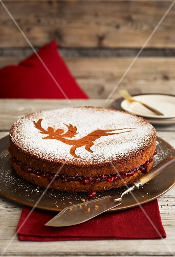 Buckwheat sandwich cake filled with cranberry jam