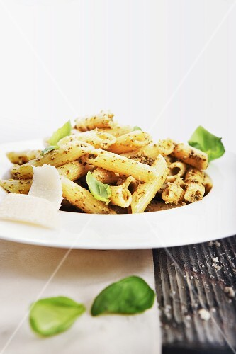 Penne with walnut pesto and parmesan