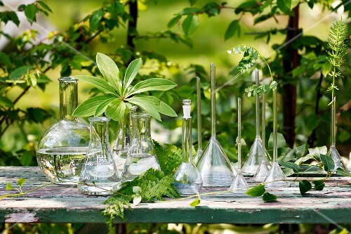 Various glass vases on table outdoors