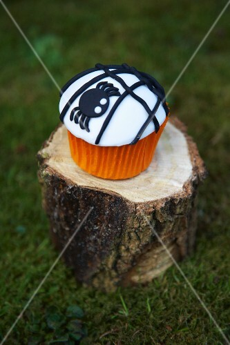 A cupcake decorated with a black spider for Halloween