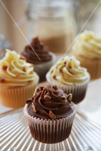 Chocolate, vanilla and caramel cupcakes