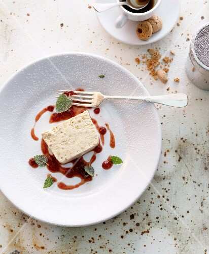 Semifreddo with a berry sauce (Italy)