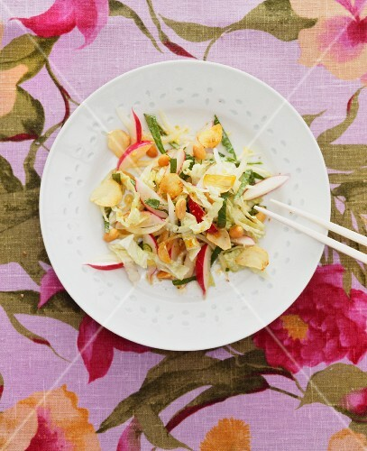 Chinese cabbage salad with radishes and peanuts