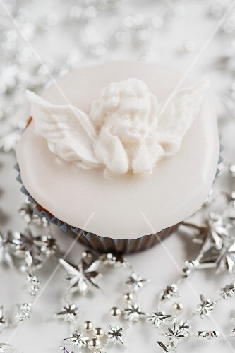 Christmas cupcake, decorated with a fondant icing angel