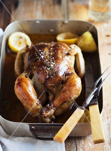 Roast chicken in the roasting tin