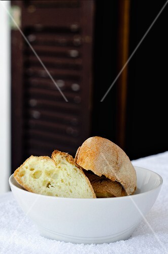 Ciabatta in a white bowl