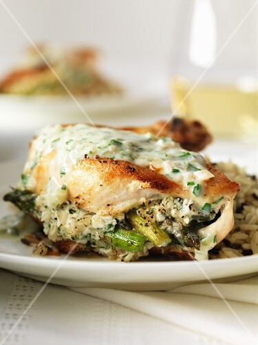 Chicken stuffed with asparagus in a white wine & shallot sauce