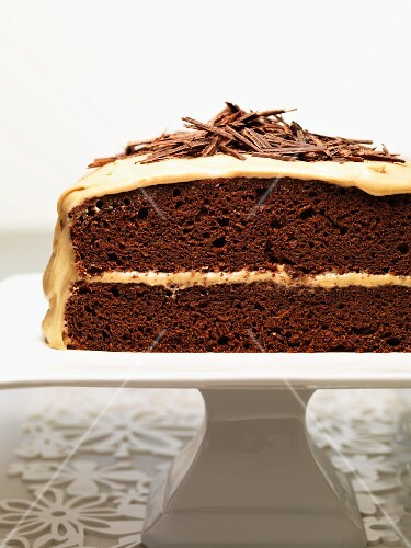 Chocolate and carrot cake with grated chocolate