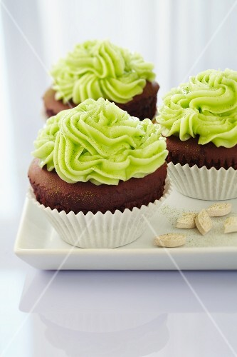 Chocolate cupcakes with a matcha topping