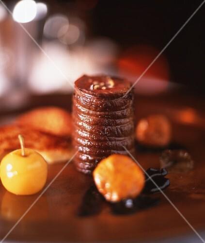 Roast beef fillet with fruit