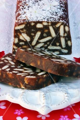 'Salami' cake (chocolate biscuit cake)