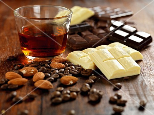 truffle ingredients.almonds.coffee beans, dark, milk and white chocolate