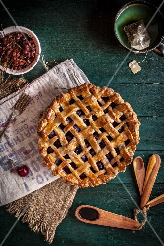 A Balsamic Cherry Pie with lattice top