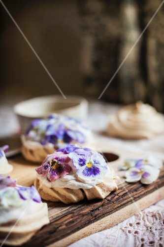 Candied Pansy and Viola Mini Meringues