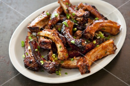 A Large Plate of Honey Roasted Ribs