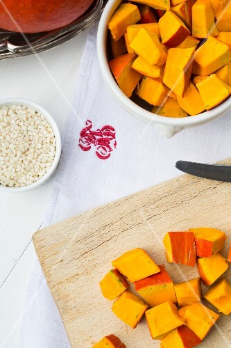 Ingredients for squash risotto: Hokkaido squash cut into small chunks, and risotto rice