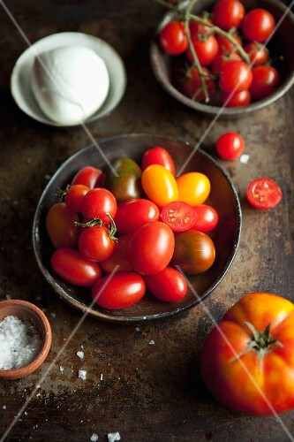Assorted tomatoes, mozzarella and salt