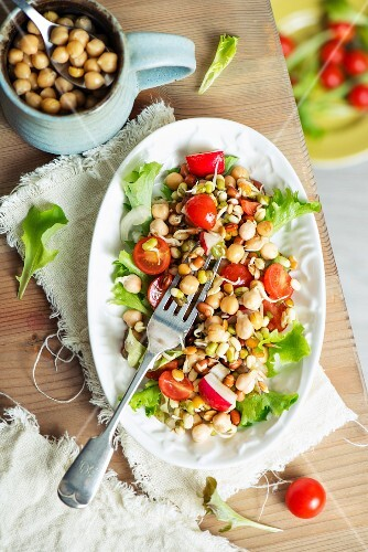 Lettuce with chickpeas, cherry tomatoes, radishes and edible shoots