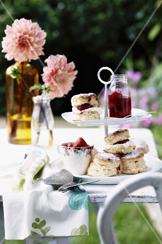 Scones with homemade strawberry jam and cream
