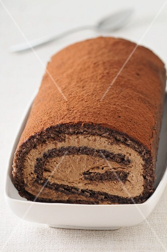 Chocolate roll dusted with cocoa powder