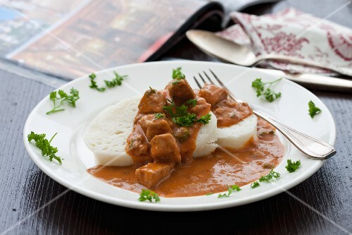 Hungarian goulash and napkin dumplings