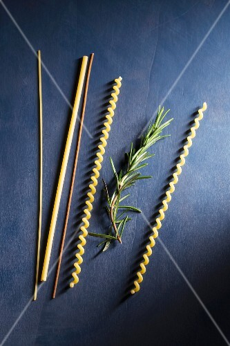 A sprig of rosemary and assorted strands of pasta